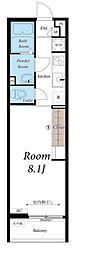 JR中央線 国立駅 徒歩3分の賃貸マンション 2階1Kの間取り