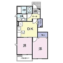 新潟県阿賀野市中央町2丁目の賃貸アパートの間取り