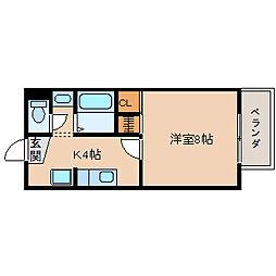 滋賀県長浜市大戌亥町の賃貸アパートの間取り