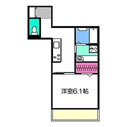 VILLA北花田D-room 3階1Kの間取り