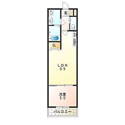 H-maison平野ノースI 2階1LDKの間取り