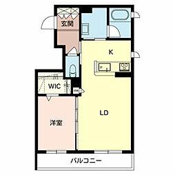 仮)堺市東区シャーメゾン西野 2階1LDKの間取り