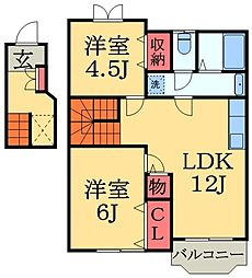 千葉県千葉市緑区平山町の賃貸アパートの間取り