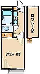 東武東上線 朝霞駅 徒歩28分の賃貸アパート 1階1Kの間取り
