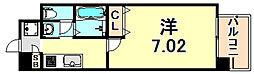 阪急神戸本線 春日野道駅 徒歩1分の賃貸マンション 2階1Kの間取り