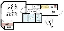 京成本線 実籾駅 徒歩5分の賃貸アパート 2階1Kの間取り