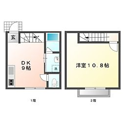 愛知県豊橋市高洲町字小水尾の賃貸アパートの間取り