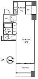 リバーシティ21イーストタワーズ2 23階ワンルームの間取り