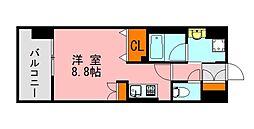 西鉄天神大牟田線 西鉄平尾駅 徒歩13分の賃貸マンション 3階ワンルームの間取り