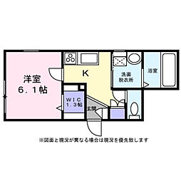Rui 1階1Kの間取り
