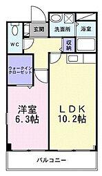 メルベーユフジワラII 3階1LDKの間取り