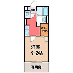 栃木県宇都宮市松原3の賃貸アパートの間取り