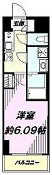 京王線 京王八王子駅 徒歩5分の賃貸マンション 2階1Kの間取り