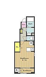 京王相模原線 京王多摩センター駅 徒歩8分の賃貸アパート 1階1Kの間取り