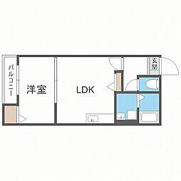 メゾンクレール博多南弐番館 1階1LDKの間取り