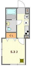 (仮称)大鳥居12世帯アパート 1階1Kの間取り