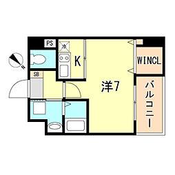 JR東海道・山陽本線 神戸駅 徒歩10分の賃貸マンション 7階ワンルームの間取り