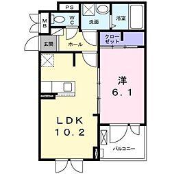 泉北高速鉄道 光明池駅 徒歩21分の賃貸アパート 2階1LDKの間取り