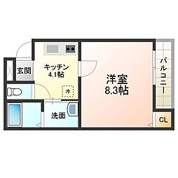 フジパレス堺鳳中VI番館 2階1Kの間取り