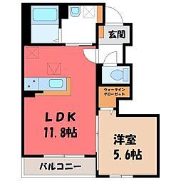 パストラーレ 1階1LDKの間取り