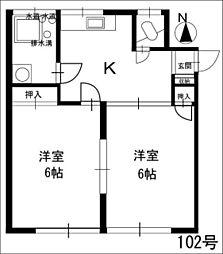 常荘[102号室]の間取り