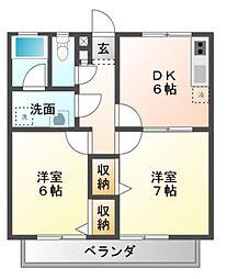 愛知県豊橋市豊栄町字東の賃貸アパートの間取り