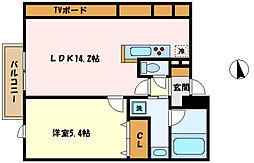 冨士プレジオ 3階1LDKの間取り