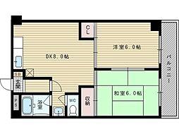 第3マンション北[1階]の間取り