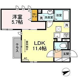 東急田園都市線 溝の口駅 徒歩10分の賃貸アパート 1階1LDKの間取り