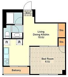 第2村上ビル 5階1LDKの間取り