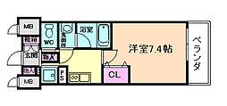 Mid Court Umekita 6階1Kの間取り