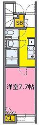 JR高崎線 上尾駅 徒歩17分の賃貸アパート 1階1Kの間取り