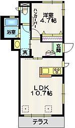 東急東横線 都立大学駅 徒歩13分の賃貸マンション 1階1LDKの間取り