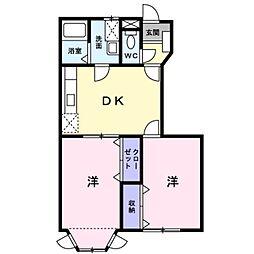 埼玉県三郷市高州2の賃貸アパートの間取り