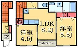 千葉県千葉市緑区誉田町1丁目の賃貸アパートの間取り
