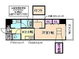 ARROW FIELDS 貮番館 5階1Kの間取り