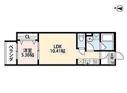 JR阪和線 三国ヶ丘駅 徒歩8分の賃貸アパート 2階1LDKの間取り
