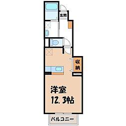 栃木県真岡市台町の賃貸アパートの間取り