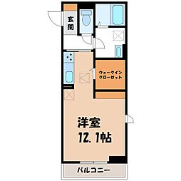 JR東北新幹線 宇都宮駅 バス53分 ゆいの杜6丁目下車 徒歩3分の賃貸アパート 1階ワンルームの間取り