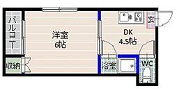 コーポ小田部[106号室]の間取り