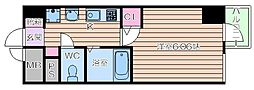 Osaka Metro谷町線 谷町九丁目駅 徒歩1分の賃貸マンション 5階1Kの間取り