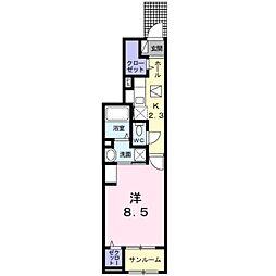 愛知環状鉄道 北野桝塚駅 徒歩7分の賃貸アパート 1階1Kの間取り
