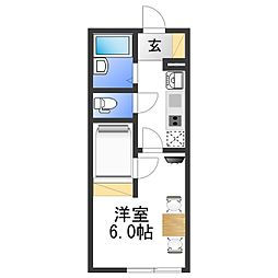 レオパレス湊御殿 2階1Kの間取り