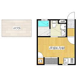 東京都北区東十条3丁目の賃貸アパートの間取り