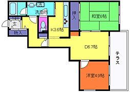 兵庫県神戸市灘区鶴甲2丁目の賃貸マンションの間取り