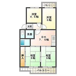 第2マンション鈴木B棟[5階]の間取り