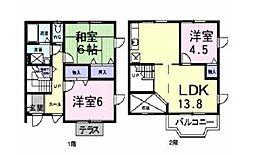 神奈川県厚木市温水西2丁目の賃貸アパートの間取り