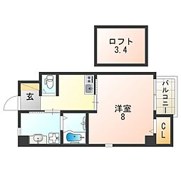 泉北高速鉄道 深井駅 徒歩5分の賃貸マンション 4階1Kの間取り