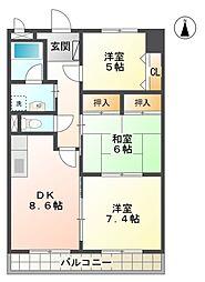 萩野マンション B棟[1階]の間取り