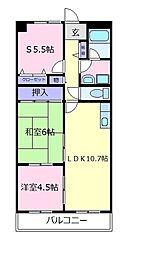 大阪府松原市東新町2の賃貸マンションの間取り